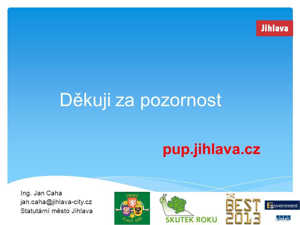 Ing. Jan Caha jan.caha@jihlava-city.cz Statutární město Jihlava Děkuji za pozornost