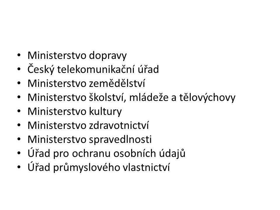 Ministerstvo dopravy Český telekomunikační úřad Ministerstvo zemědělství Ministerstvo školství, mládeže a tělovýchovy Ministerstvo kultury Ministerstv