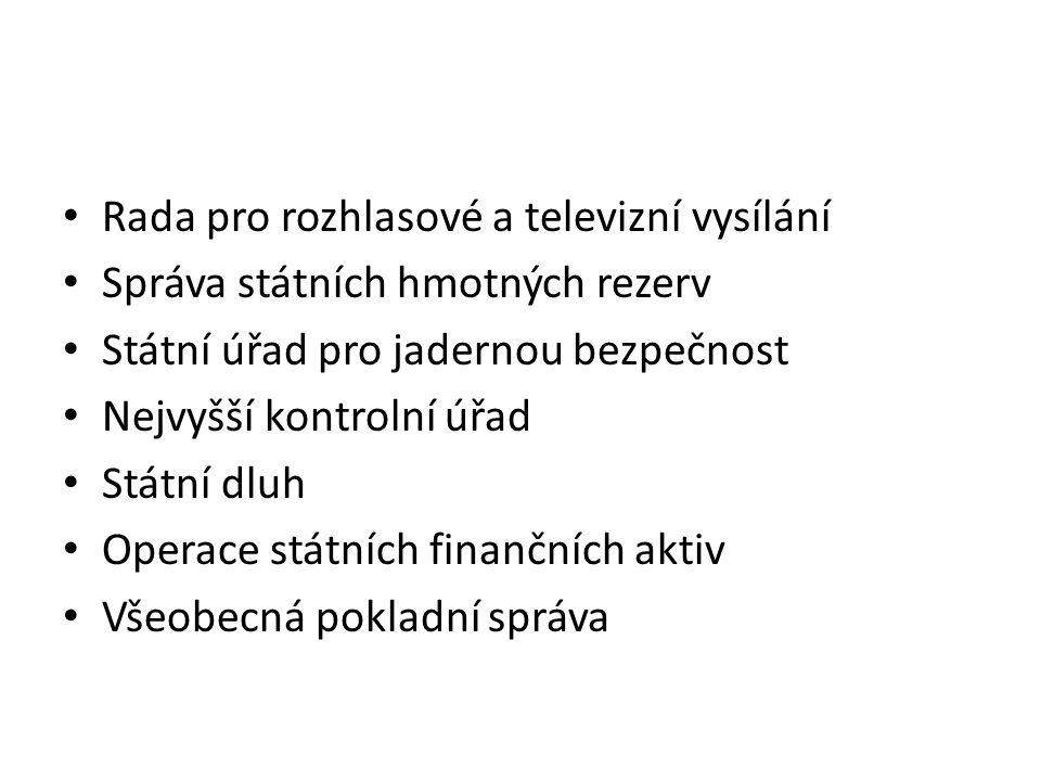 Rada pro rozhlasové a televizní vysílání Správa státních hmotných rezerv Státní úřad pro jadernou bezpečnost Nejvyšší kontrolní úřad Státní dluh Opera