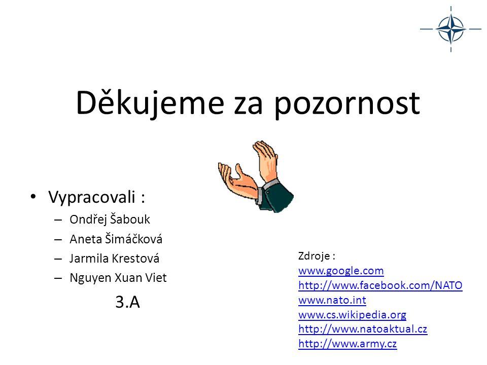 Děkujeme za pozornost Vypracovali : – Ondřej Šabouk – Aneta Šimáčková – Jarmila Krestová – Nguyen Xuan Viet 3.A Zdroje : www.google.com http://www.fac