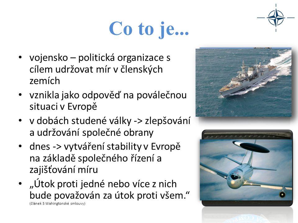 Hlavní funkce NATO ochrana svobody a bezpečnosti všech jeho členů politickými i vojenskými prostředky v souladu se zásadami charty OSN