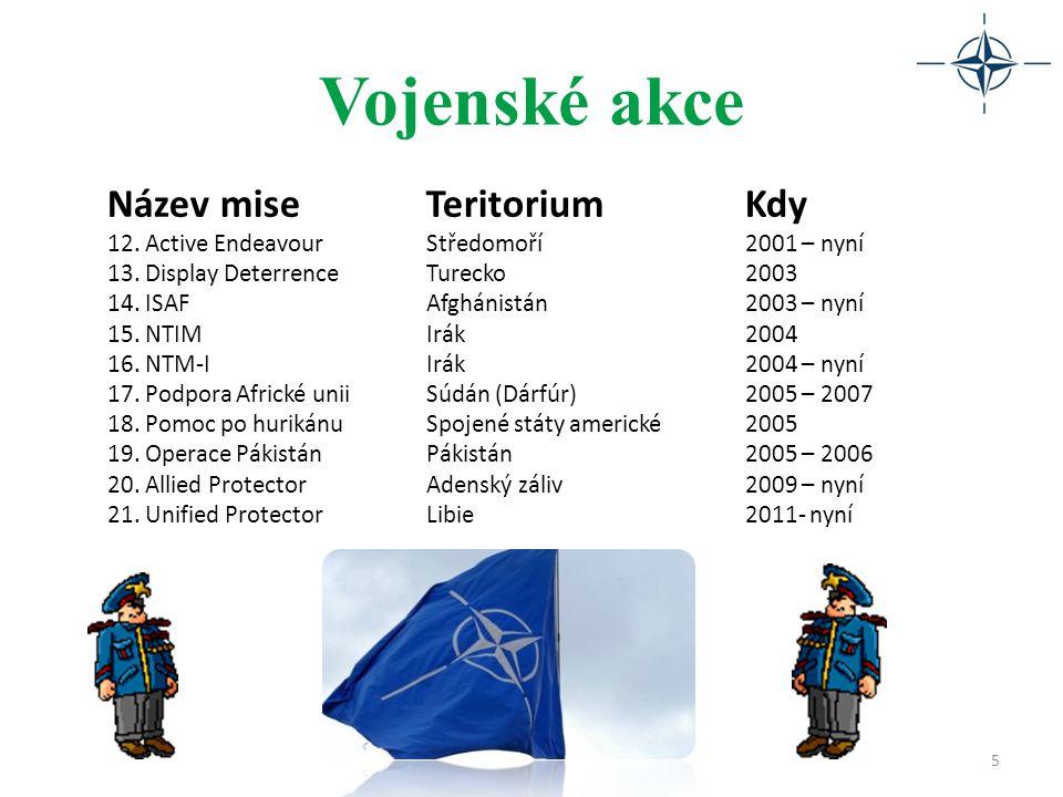 Vojenské akce 5 Název miseTeritoriumKdy 12. Active EndeavourStředomoří2001 – nyní 13. Display DeterrenceTurecko2003 14. ISAFAfghánistán2003 – nyní 15.
