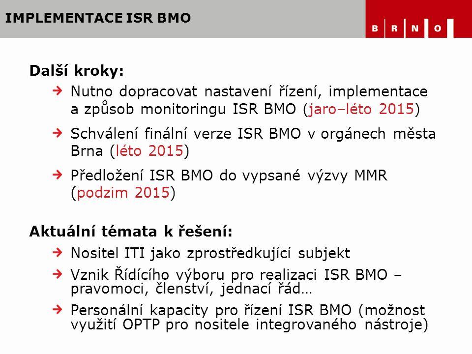 IMPLEMENTACE ISR BMO Další kroky: Nutno dopracovat nastavení řízení, implementace a způsob monitoringu ISR BMO (jaro–léto 2015) Schválení finální verz