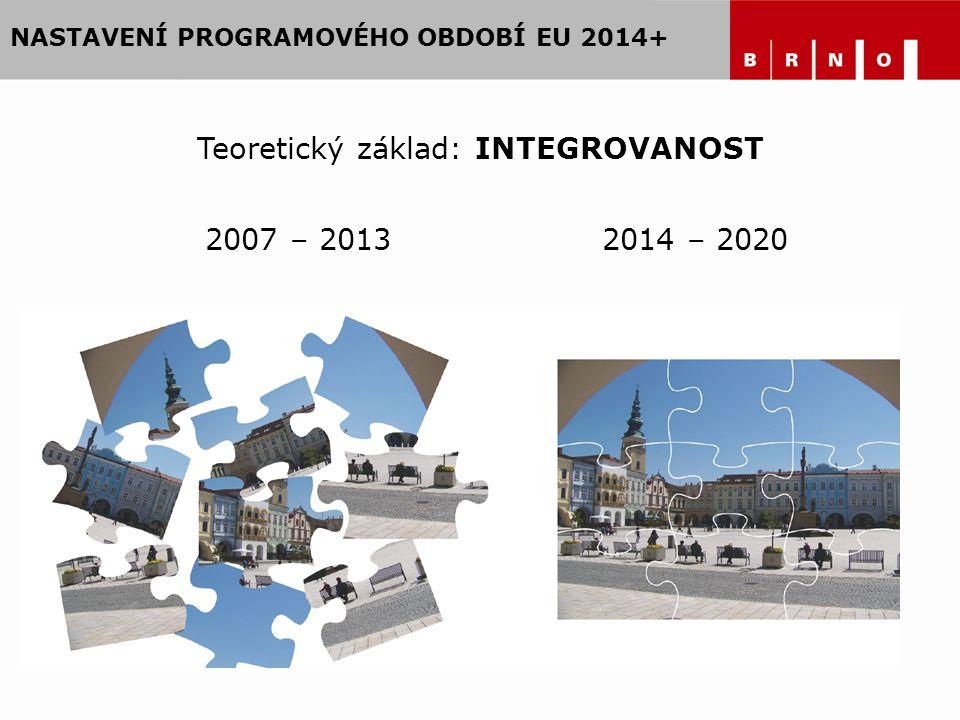 NASTAVENÍ PROGRAMOVÉHO OBDOBÍ EU 2014+ 2007 – 20132014 – 2020 Teoretický základ: INTEGROVANOST