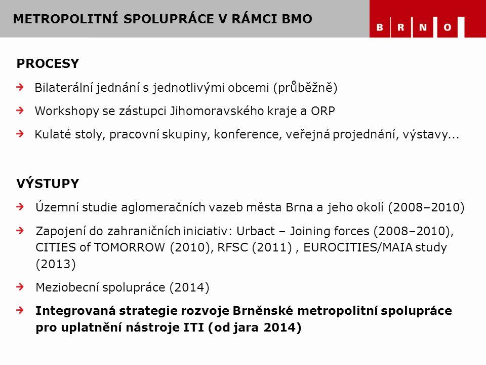 PROCESY Bilaterální jednání s jednotlivými obcemi (průběžně) Workshopy se zástupci Jihomoravského kraje a ORP Kulaté stoly, pracovní skupiny, konferen