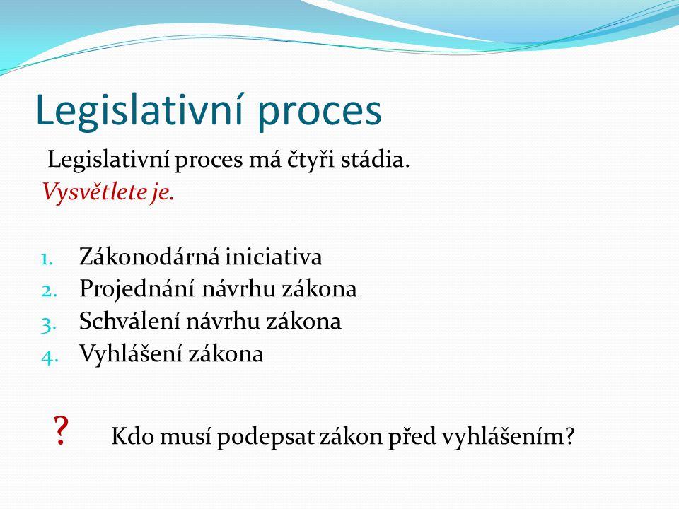 Legislativní proces Legislativní proces má čtyři stádia.