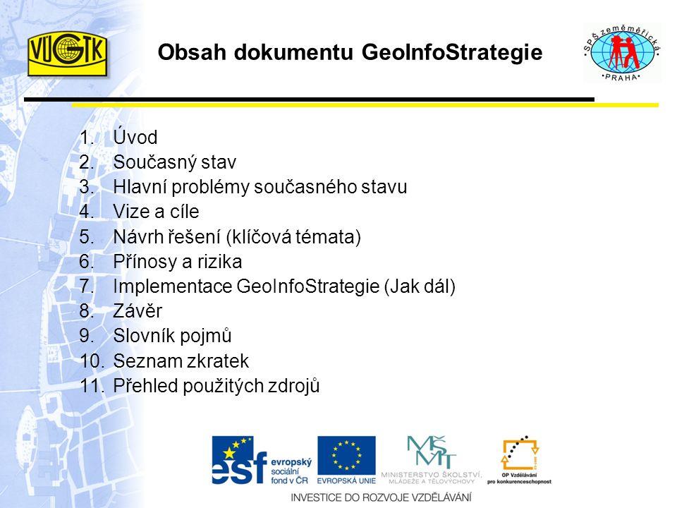 Obsah dokumentu GeoInfoStrategie 1.Úvod 2.Současný stav 3.Hlavní problémy současného stavu 4.Vize a cíle 5.Návrh řešení (klíčová témata) 6.Přínosy a rizika 7.Implementace GeoInfoStrategie (Jak dál) 8.Závěr 9.Slovník pojmů 10.Seznam zkratek 11.Přehled použitých zdrojů