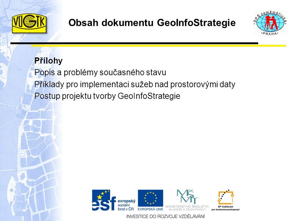 Obsah dokumentu GeoInfoStrategie Přílohy Popis a problémy současného stavu Příklady pro implementaci sužeb nad prostorovými daty Postup projektu tvorby GeoInfoStrategie