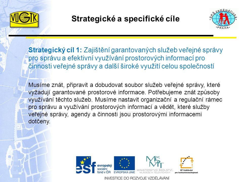 Strategické a specifické cíle Strategický cíl 1: Zajištění garantovaných služeb veřejné správy pro správu a efektivní využívání prostorových informací pro činnosti veřejné správy a další široké využití celou společností Musíme znát, připravit a dobudovat soubor služeb veřejné správy, které vyžadují garantované prostorové informace.