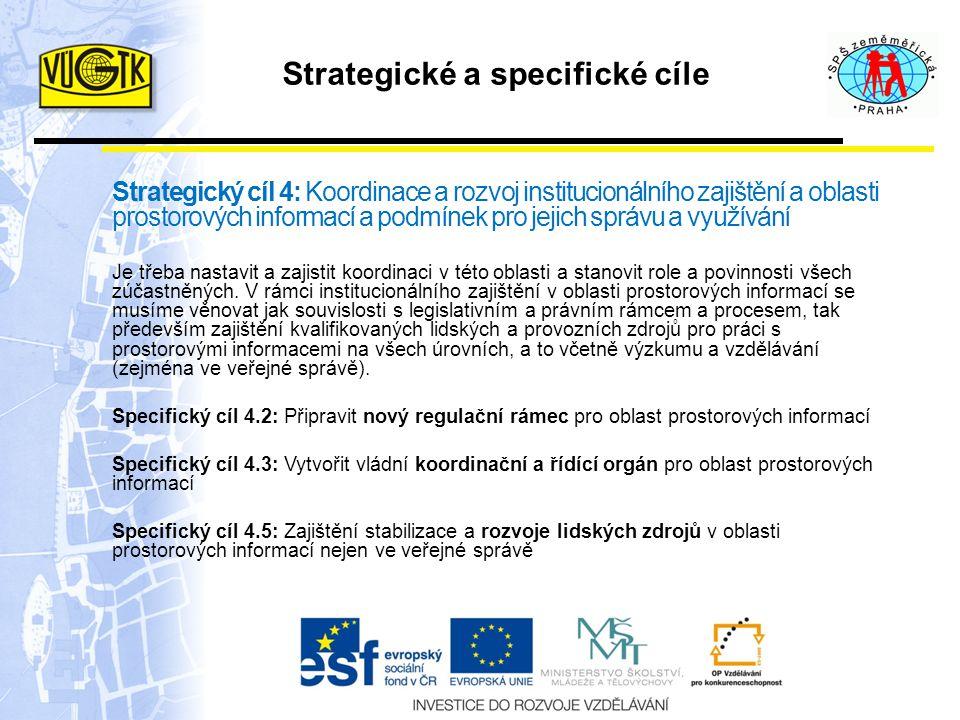 Strategické a specifické cíle Strategický cíl 4: Koordinace a rozvoj institucionálního zajištění a oblasti prostorových informací a podmínek pro jejic