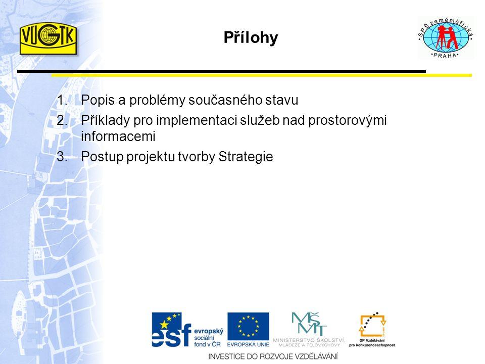 Přílohy 1.Popis a problémy současného stavu 2.Příklady pro implementaci služeb nad prostorovými informacemi 3.Postup projektu tvorby Strategie
