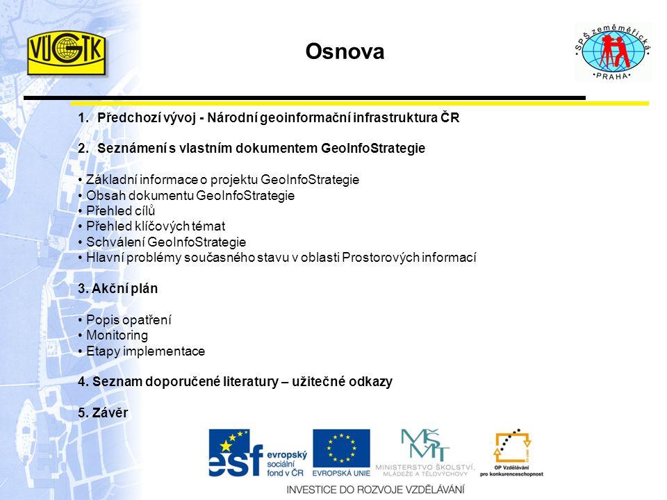 Předchozí vývoj Národní geoinformační infrastruktura České republiky Program rozvoje v letech 2001 – 2005 NEMOFORUM