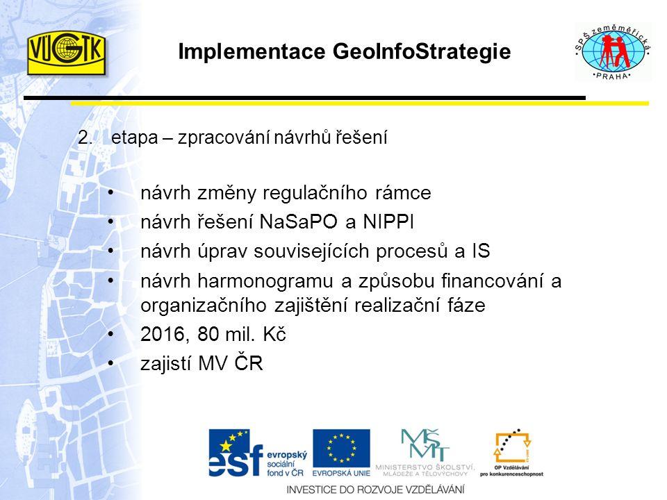 Implementace GeoInfoStrategie 2.etapa – zpracování návrhů řešení návrh změny regulačního rámce návrh řešení NaSaPO a NIPPI návrh úprav souvisejících procesů a IS návrh harmonogramu a způsobu financování a organizačního zajištění realizační fáze 2016, 80 mil.