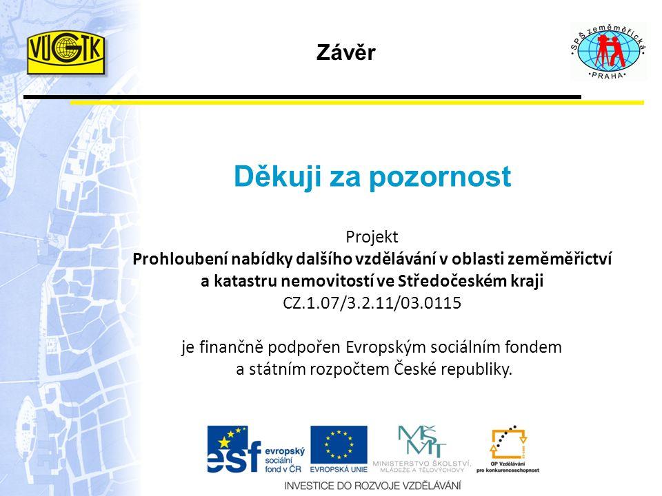 Projekt Prohloubení nabídky dalšího vzdělávání v oblasti zeměměřictví a katastru nemovitostí ve Středočeském kraji CZ.1.07/3.2.11/03.0115 je finančně podpořen Evropským sociálním fondem a státním rozpočtem České republiky.