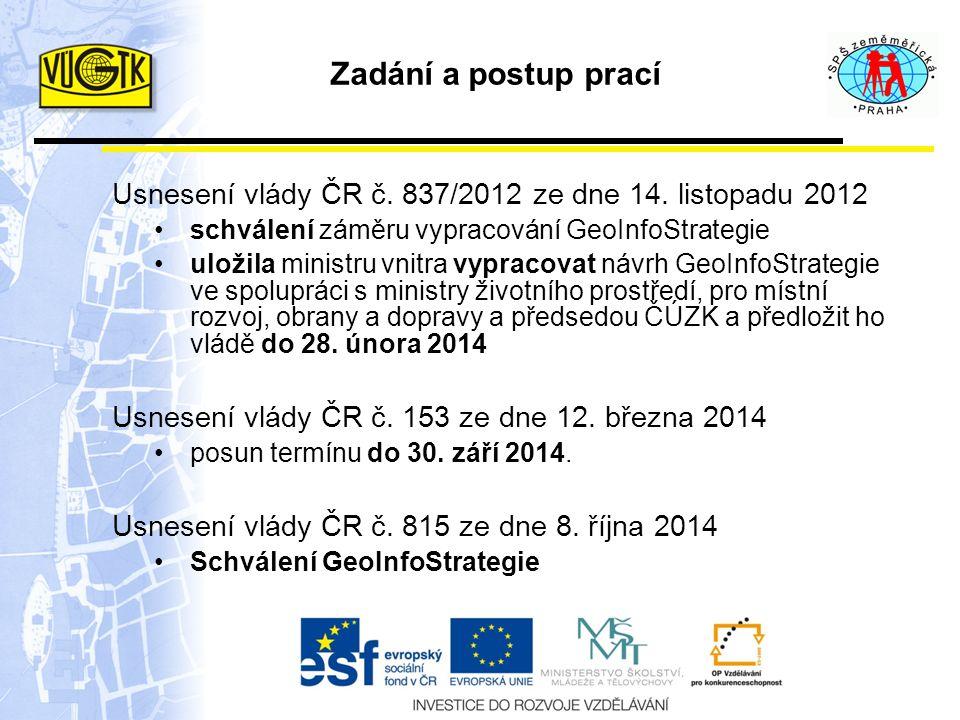 Zadání a postup prací Usnesení vlády ČR č. 837/2012 ze dne 14.