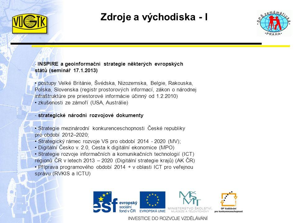 Zdroje a východiska - I - INSPIRE a geoinformační strategie některých evropských států (seminář 17.1.2013) postupy Velké Británie, Švédska, Nizozemska