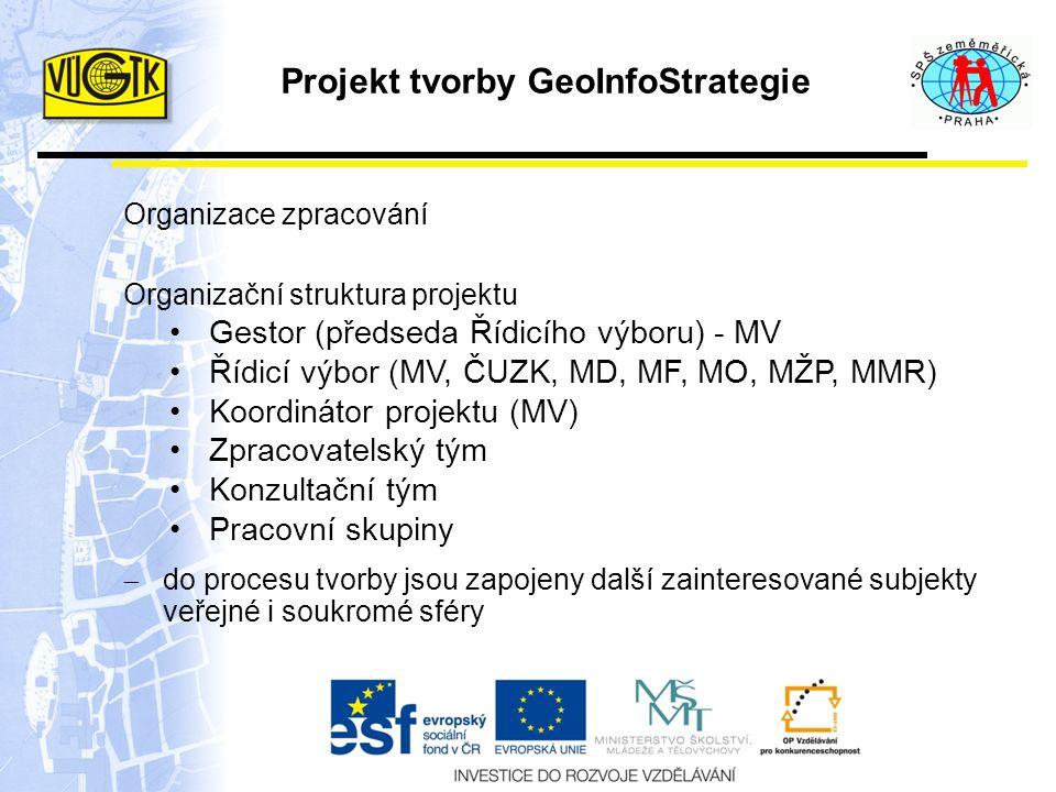 Projekt tvorby GeoInfoStrategie Organizace zpracování Organizační struktura projektu Gestor (předseda Řídicího výboru) - MV Řídicí výbor (MV, ČUZK, MD, MF, MO, MŽP, MMR) Koordinátor projektu (MV) Zpracovatelský tým Konzultační tým Pracovní skupiny  do procesu tvorby jsou zapojeny další zainteresované subjekty veřejné i soukromé sféry