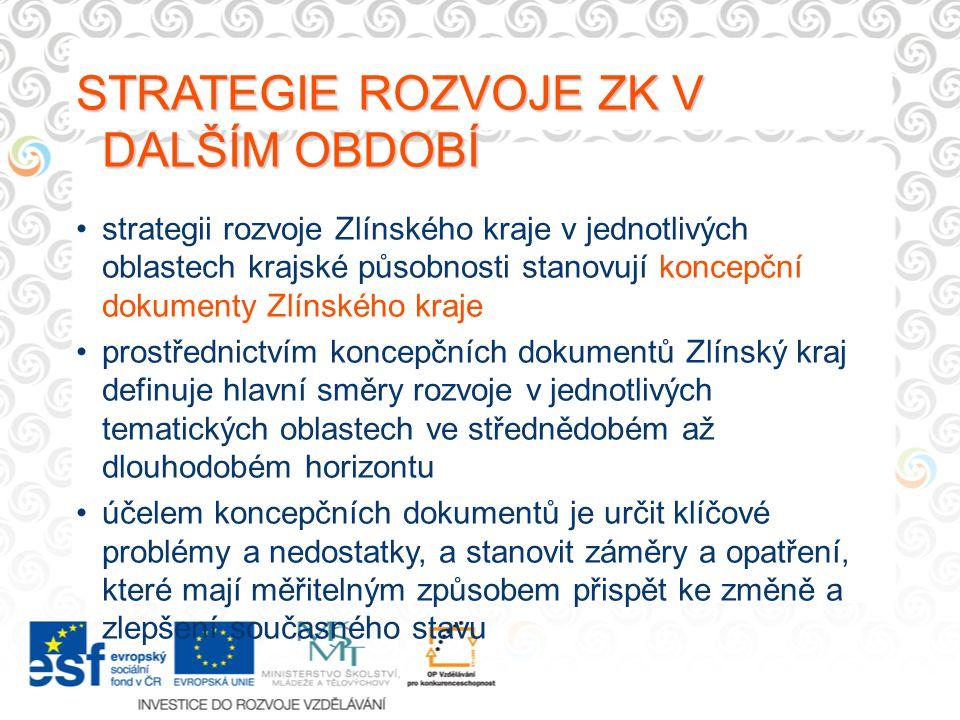 STRATEGIE ROZVOJE ZK V DALŠÍM OBDOBÍ strategii rozvoje Zlínského kraje v jednotlivých oblastech krajské působnosti stanovují koncepční dokumenty Zlíns