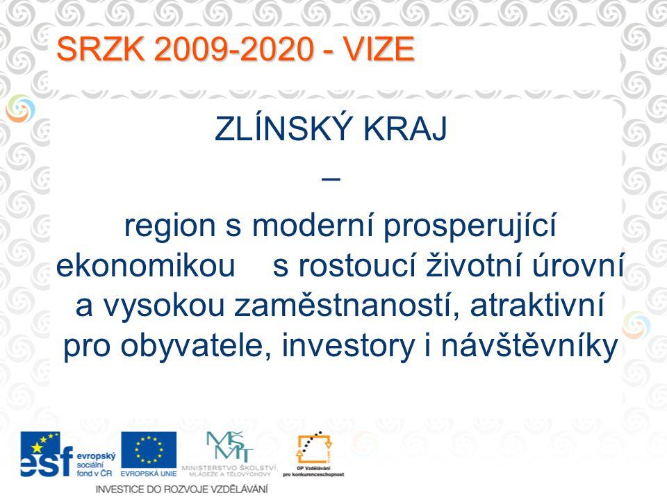 SRZK 2009-2020 - VIZE SRZK 2009-2020 - VIZE ZLÍNSKÝ KRAJ – region s moderní prosperující ekonomikou s rostoucí životní úrovní a vysokou zaměstnaností, atraktivní pro obyvatele, investory i návštěvníky