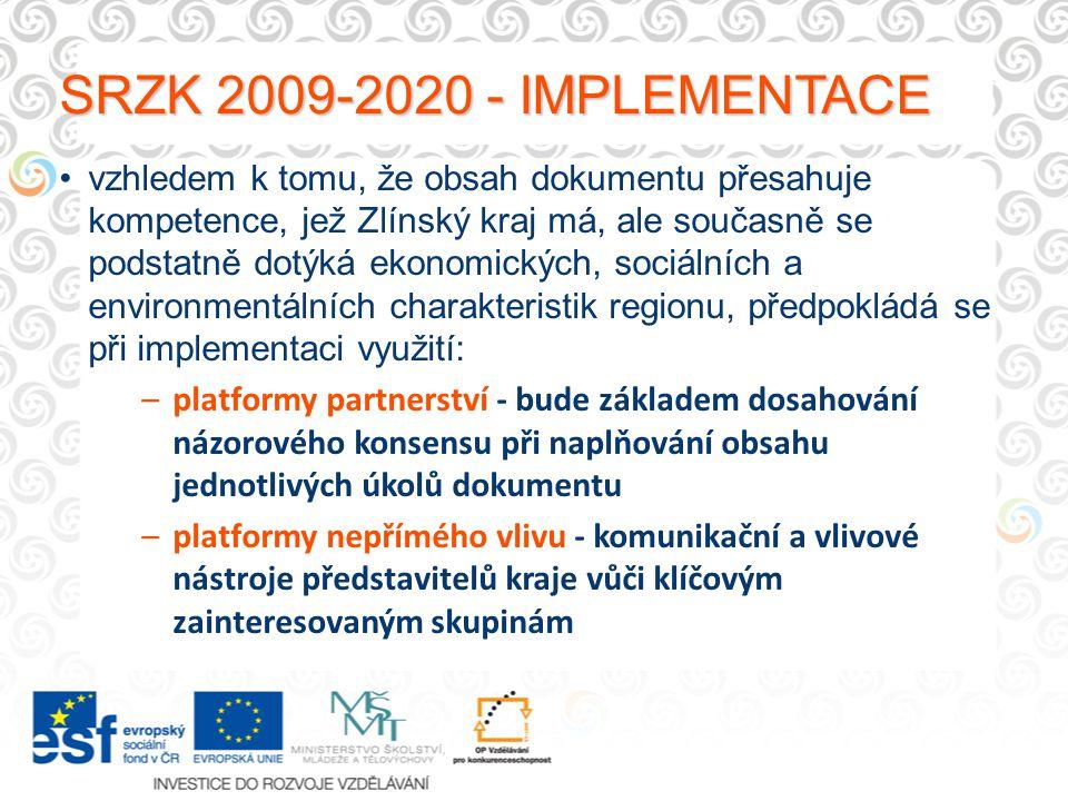 SRZK 2009-2020 - IMPLEMENTACE vzhledem k tomu, že obsah dokumentu přesahuje kompetence, jež Zlínský kraj má, ale současně se podstatně dotýká ekonomických, sociálních a environmentálních charakteristik regionu, předpokládá se při implementaci využití: –platformy partnerství - bude základem dosahování názorového konsensu při naplňování obsahu jednotlivých úkolů dokumentu –platformy nepřímého vlivu - komunikační a vlivové nástroje představitelů kraje vůči klíčovým zainteresovaným skupinám