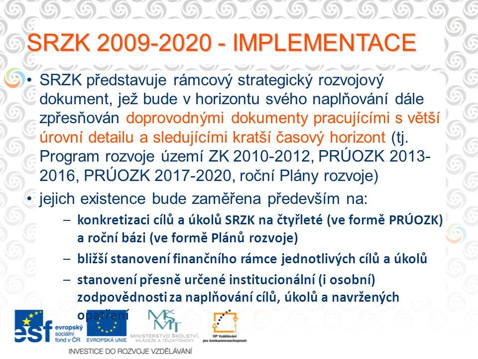 SRZK 2009-2020 - IMPLEMENTACE SRZK představuje rámcový strategický rozvojový dokument, jež bude v horizontu svého naplňování dále zpřesňován doprovodnými dokumenty pracujícími s větší úrovní detailu a sledujícími kratší časový horizont (tj.