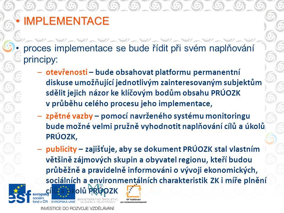 IMPLEMENTACEIMPLEMENTACE proces implementace se bude řídit při svém naplňování principy: –otevřenosti – bude obsahovat platformu permanentní diskuse umožňující jednotlivým zainteresovaným subjektům sdělit jejich názor ke klíčovým bodům obsahu PRÚOZK v průběhu celého procesu jeho implementace, –zpětné vazby – pomocí navrženého systému monitoringu bude možné velmi pružně vyhodnotit naplňování cílů a úkolů PRÚOZK, –publicity – zajišťuje, aby se dokument PRÚOZK stal vlastním většině zájmových skupin a obyvatel regionu, kteří budou průběžně a pravidelně informováni o vývoji ekonomických, sociálních a environmentálních charakteristik ZK i míře plnění cílů a úkolů PRÚOZK