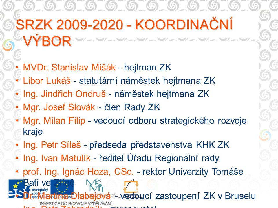 SRZK 2009-2020 - KOORDINAČNÍ VÝBOR MVDr. Stanislav Mišák - hejtman ZK Libor Lukáš - statutární náměstek hejtmana ZK Ing. Jindřich Ondruš - náměstek he