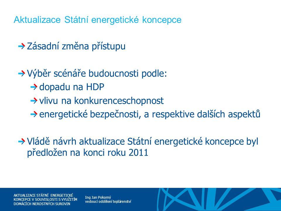 Ing Jan Pokorný vedoucí oddělení teplárenství AKTUALIZACE STÁTNÍ ENERGETICKÉ KONCEPCE V SOUVISLOSTI S VYUŽITÍM DOMÁCÍCH NEROSTNÝCH SUROVIN Aktualizace
