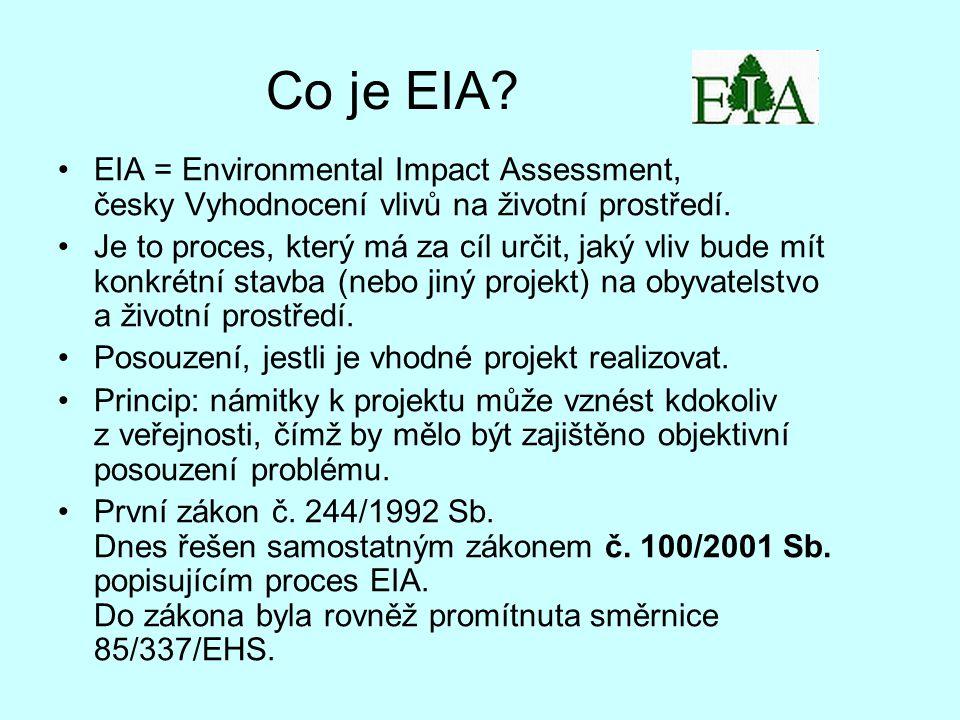 Co je EIA. EIA = Environmental Impact Assessment, česky Vyhodnocení vlivů na životní prostředí.