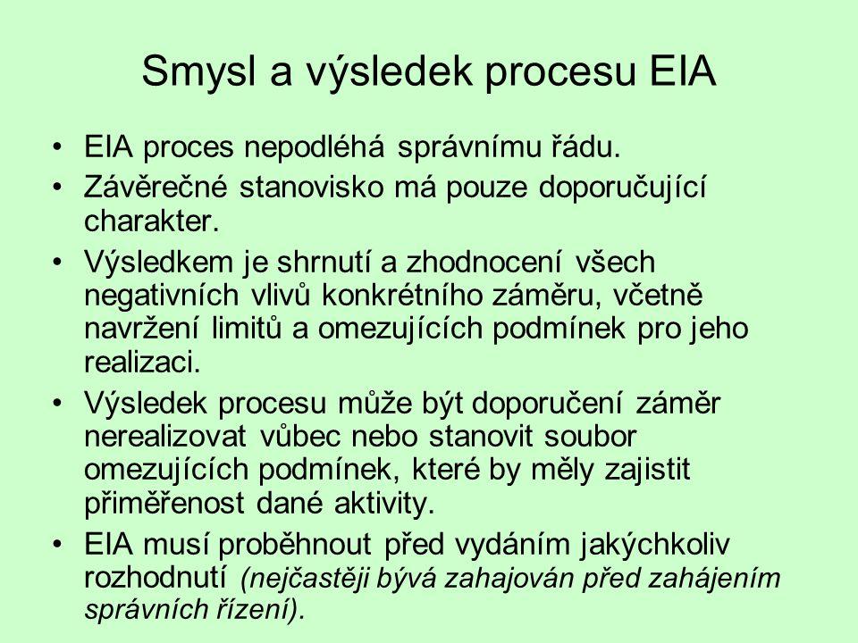 Smysl a výsledek procesu EIA EIA proces nepodléhá správnímu řádu. Závěrečné stanovisko má pouze doporučující charakter. Výsledkem je shrnutí a zhodnoc