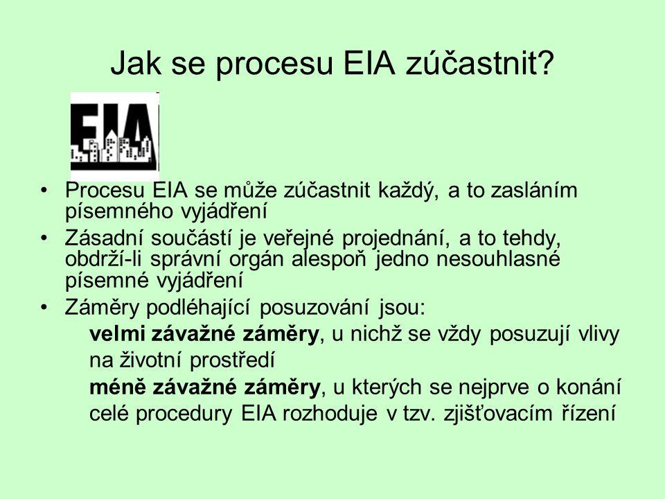 Jak se procesu EIA zúčastnit? Procesu EIA se může zúčastnit každý, a to zasláním písemného vyjádření Zásadní součástí je veřejné projednání, a to tehd