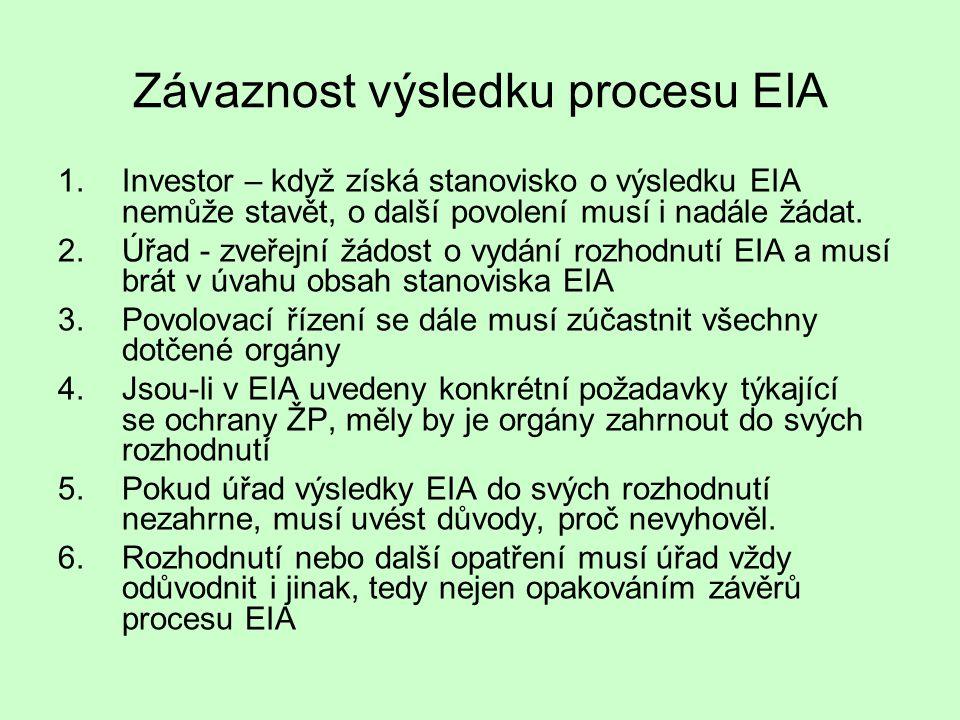 Závaznost výsledku procesu EIA 1.Investor – když získá stanovisko o výsledku EIA nemůže stavět, o další povolení musí i nadále žádat. 2.Úřad - zveřejn