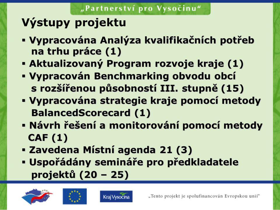 Výstupy projektu  Vypracována Analýza kvalifikačních potřeb na trhu práce (1)  Aktualizovaný Program rozvoje kraje (1)  Vypracován Benchmarking obvodu obcí s rozšířenou působností III.
