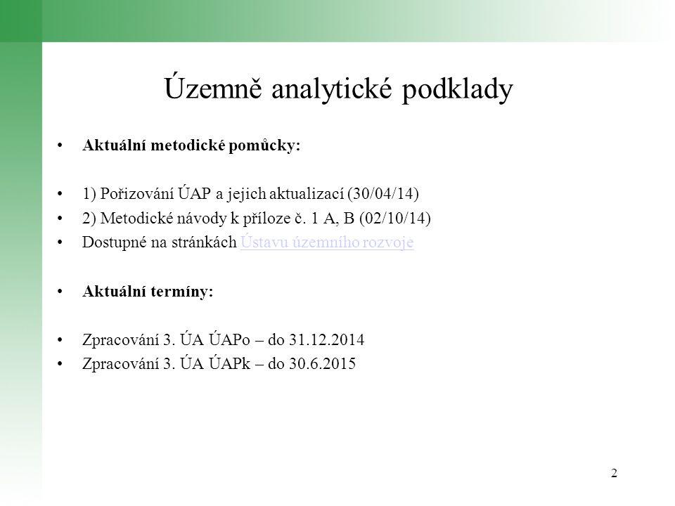 Územně analytické podklady Aktuální metodické pomůcky: 1) Pořizování ÚAP a jejich aktualizací (30/04/14) 2) Metodické návody k příloze č. 1 A, B (02/1