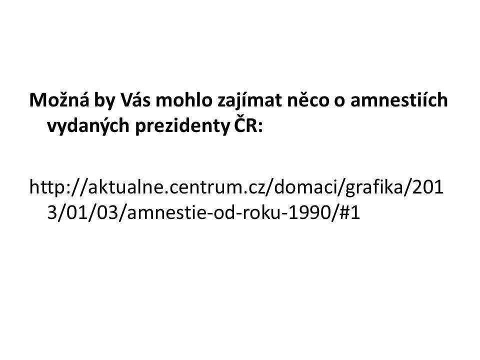 Možná by Vás mohlo zajímat něco o amnestiích vydaných prezidenty ČR: http://aktualne.centrum.cz/domaci/grafika/201 3/01/03/amnestie-od-roku-1990/#1