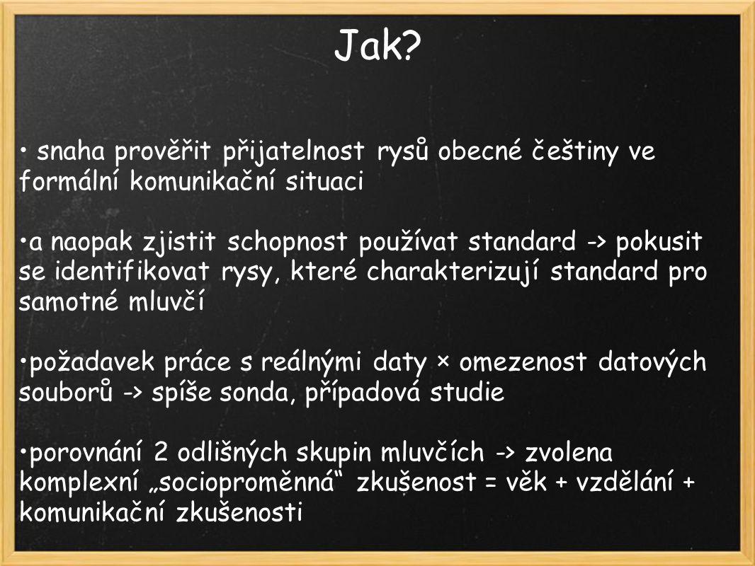 Jak? snaha prověřit přijatelnost rysů obecné češtiny ve formální komunikační situaci a naopak zjistit schopnost používat standard -> pokusit se identi