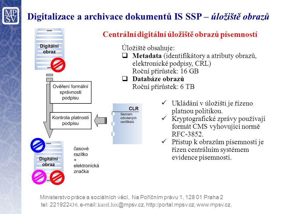 Digitalizace a archivace dokumentů IS SSP – úložiště obrazů tel: 221922 436, e-mail: karel.