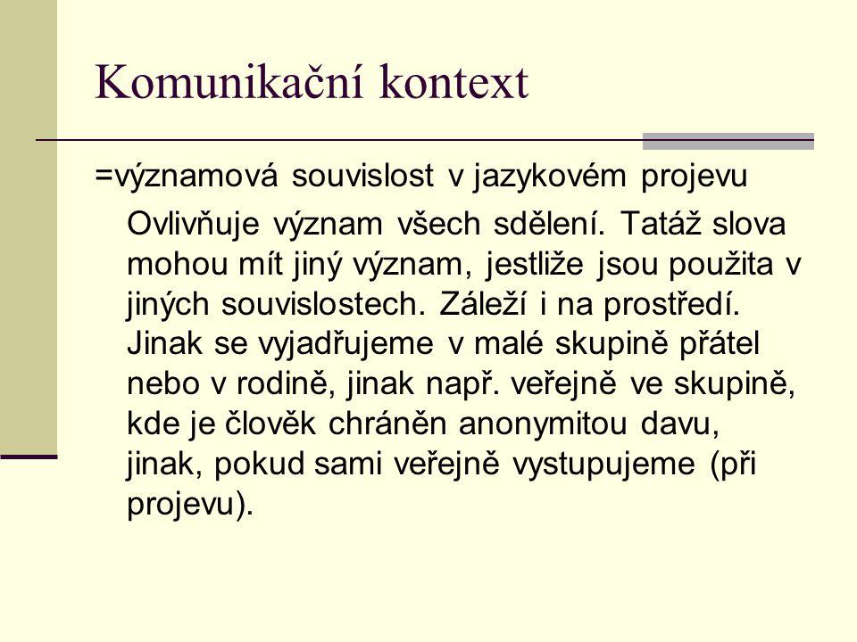 Komunikační kontext =významová souvislost v jazykovém projevu Ovlivňuje význam všech sdělení. Tatáž slova mohou mít jiný význam, jestliže jsou použita