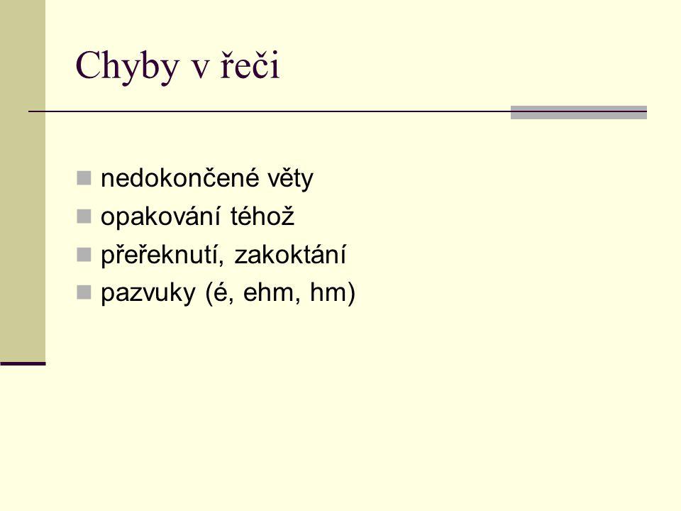 Chyby v řeči nedokončené věty opakování téhož přeřeknutí, zakoktání pazvuky (é, ehm, hm)