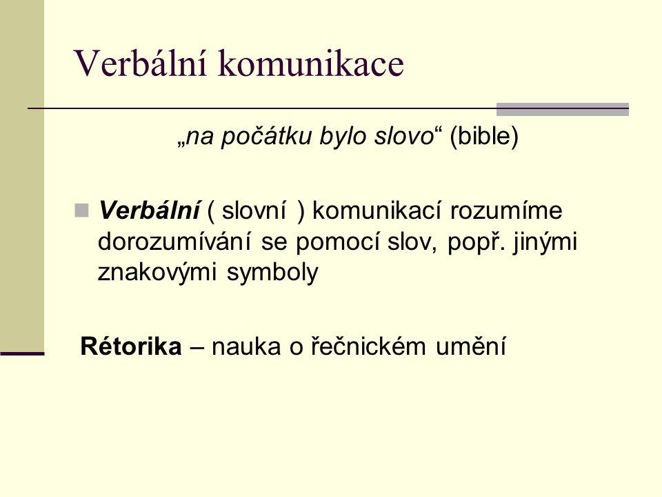 """Verbální komunikace """"na počátku bylo slovo"""" (bible) Verbální ( slovní ) komunikací rozumíme dorozumívání se pomocí slov, popř. jinými znakovými symbol"""