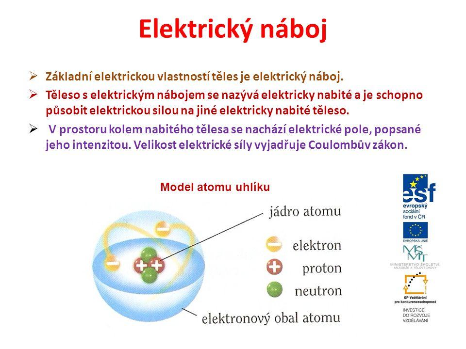 Elektrický náboj  Základní elektrickou vlastností těles je elektrický náboj.  Těleso s elektrickým nábojem se nazývá elektricky nabité a je schopno