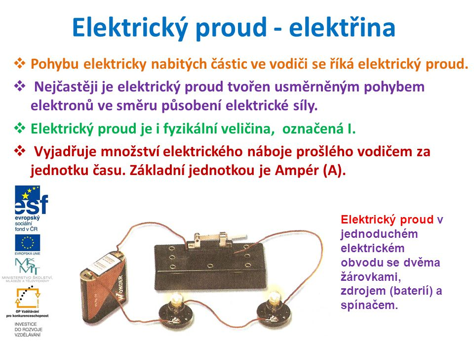 Elektrický proud - elektřina  Pohybu elektricky nabitých částic ve vodiči se říká elektrický proud.  Nejčastěji je elektrický proud tvořen usměrněný