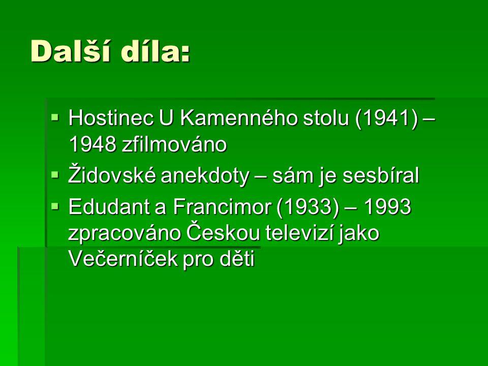 Další díla:  Hostinec U Kamenného stolu (1941) – 1948 zfilmováno  Židovské anekdoty – sám je sesbíral  Edudant a Francimor (1933) – 1993 zpracováno Českou televizí jako Večerníček pro děti