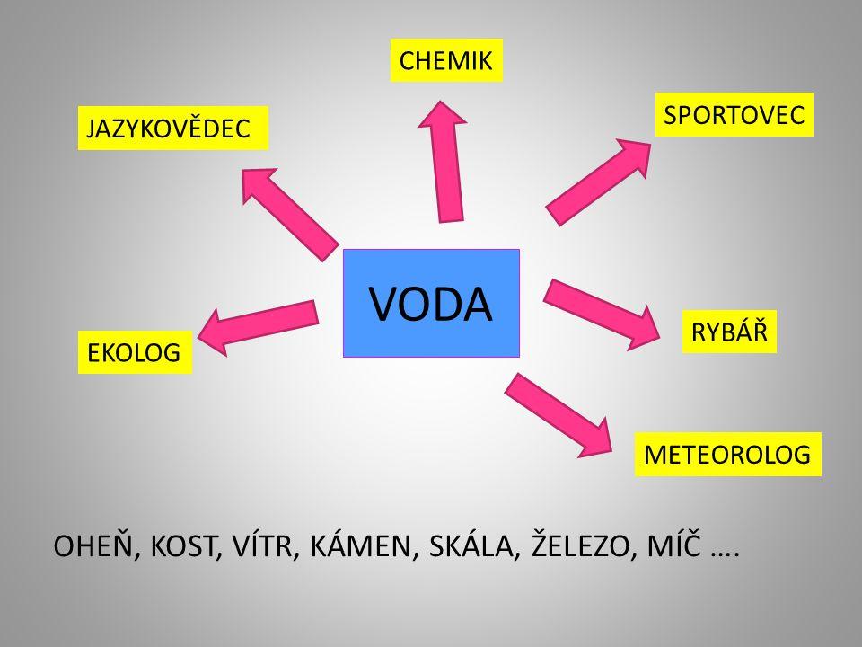 VODA JAZYKOVĚDEC SPORTOVEC CHEMIK EKOLOG RYBÁŘ METEOROLOG OHEŇ, KOST, VÍTR, KÁMEN, SKÁLA, ŽELEZO, MÍČ ….