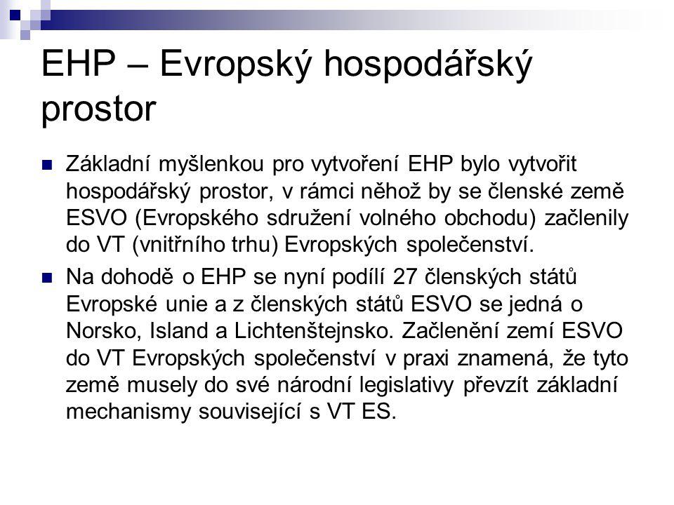 EHP – Evropský hospodářský prostor Základní myšlenkou pro vytvoření EHP bylo vytvořit hospodářský prostor, v rámci něhož by se členské země ESVO (Evro