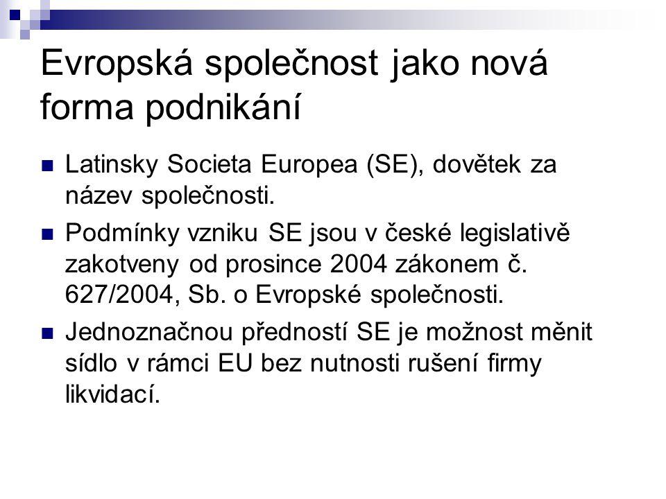 Evropská společnost jako nová forma podnikání Latinsky Societa Europea (SE), dovětek za název společnosti. Podmínky vzniku SE jsou v české legislativě