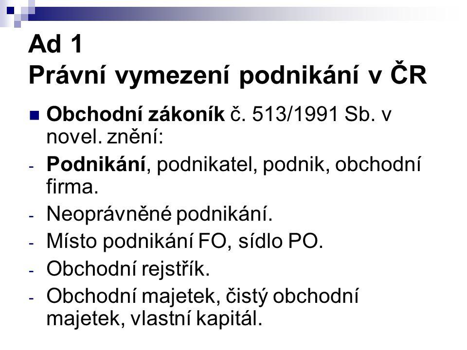 Ad 1 Právní vymezení podnikání v ČR Obchodní zákoník č. 513/1991 Sb. v novel. znění: - Podnikání, podnikatel, podnik, obchodní firma. - Neoprávněné po