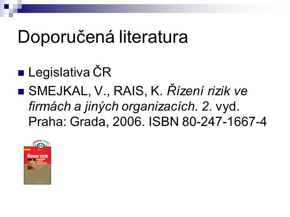 Doporučená literatura Legislativa ČR SMEJKAL, V., RAIS, K. Řízení rizik ve firmách a jiných organizacích. 2. vyd. Praha: Grada, 2006. ISBN 80-247-1667