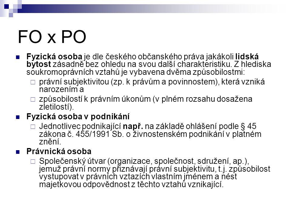 FO x PO Fyzická osoba je dle českého občanského práva jakákoli lidská bytost zásadně bez ohledu na svou další charakteristiku. Z hlediska soukromopráv