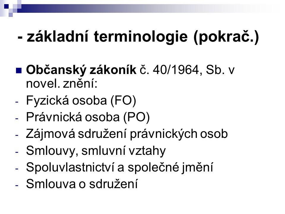 - základní terminologie (pokrač.) Občanský zákoník č. 40/1964, Sb. v novel. znění: - Fyzická osoba (FO) - Právnická osoba (PO) - Zájmová sdružení práv